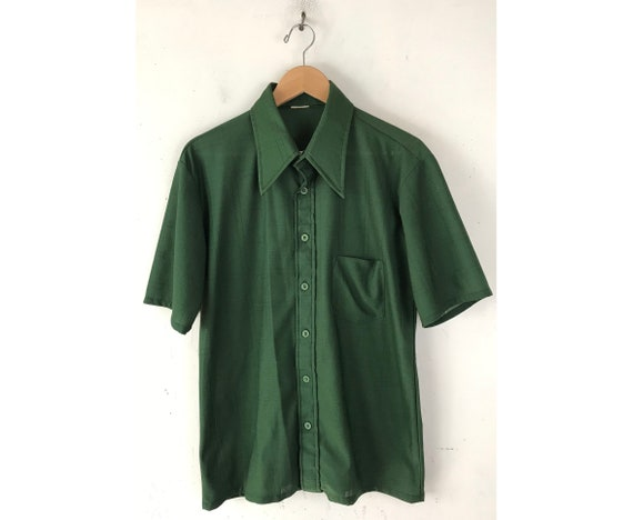 70s Dark Green Plaid Disco Shirt Mens Medium, Butt