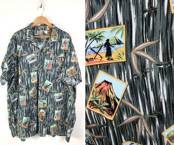 Vintage Island Beach Print Hawaiian Shirt Mens Siz