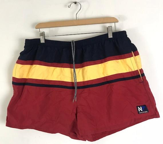 90s Nautica Red Yellow & Red Striped Short Swim T… - image 1