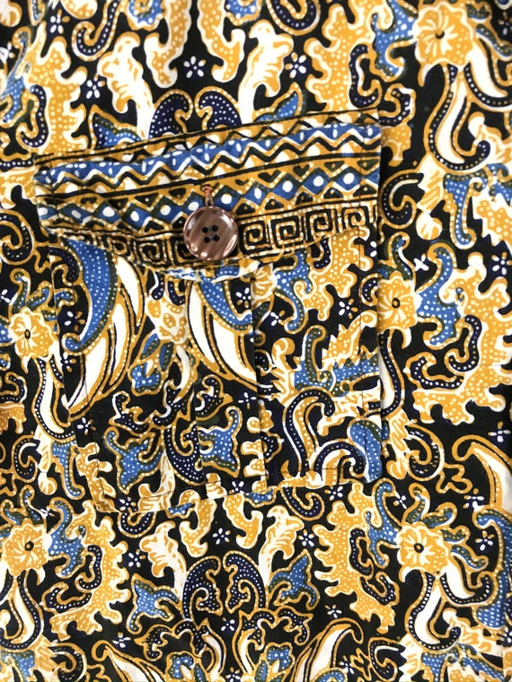 Vintage Gold Black & Blue Abstract Print Shirt Si… - image 4