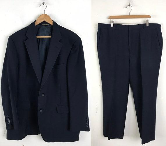 80s Dark Blue Two Piece Suit Mens Size 46 & 42W, C