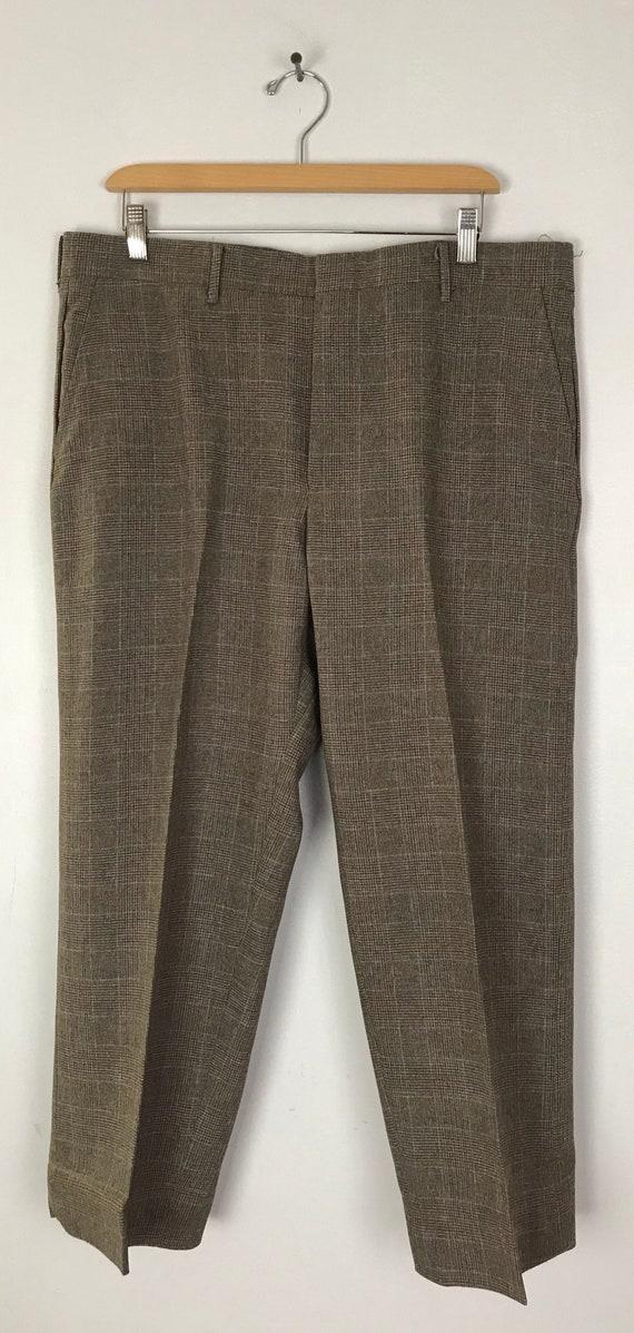 80s Brown & Orange Plaid Cropped Pants Mens Size … - image 2