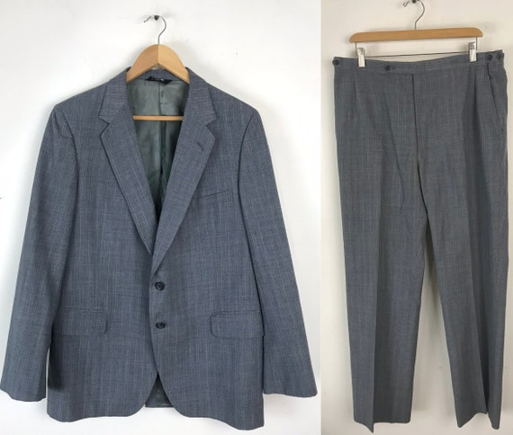 70s Blue Gray Pinstriped Two Piece Suit Mens Size… - image 1