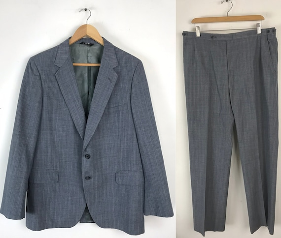 70s Blue Gray Pinstriped Two Piece Suit Mens Size