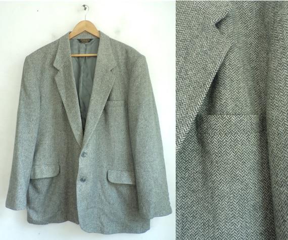 Vintage Light Gray Tweed Sport Coat Mens Size 50,