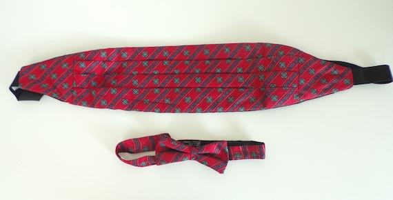 Vintage Red & Blue Abstract Print Cummerbund Bow T