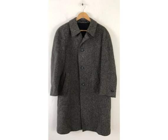 Vintage Gray & Blue Tweed Over Coat Mens Size Medi