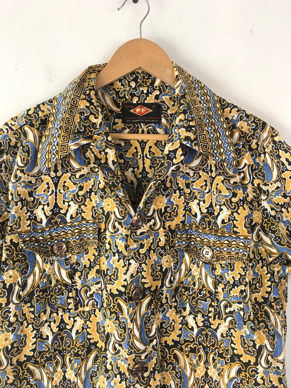 Vintage Gold Black & Blue Abstract Print Shirt Si… - image 3