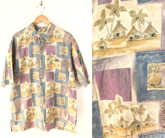 90s Tori Richard Tiki Hut Palm Print Hawaiian Shir