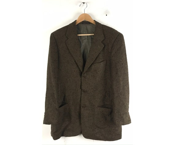 90s Olive Green & Brown Textured Blazer Mens Size