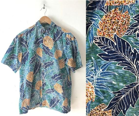 90s Pineapple Print Hawaiian Shirt Mens Medium, Tr
