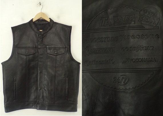 Vintage Black Leather Tire Company Vest Large, Tir
