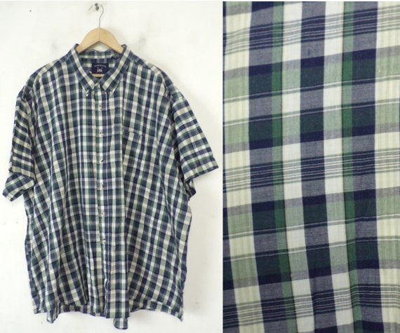 Vintage Blue Green & White Shirt Mens 4X, Mens Pla