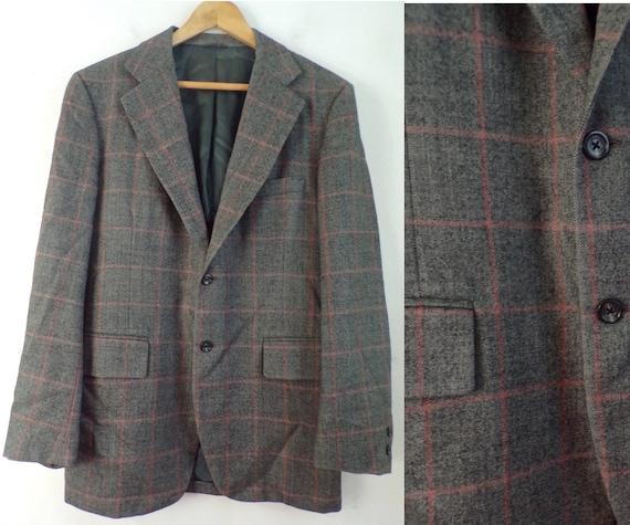 80s Gray & Red Plaid Blazer Mens Size 42, Wool Bla