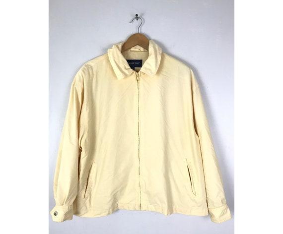 Vintage London Fog Cream Zip Front Jacket Mens Med