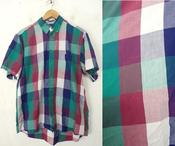 80s Blue Aqua & Pink Plaid Shirt Mens Large, Prepp