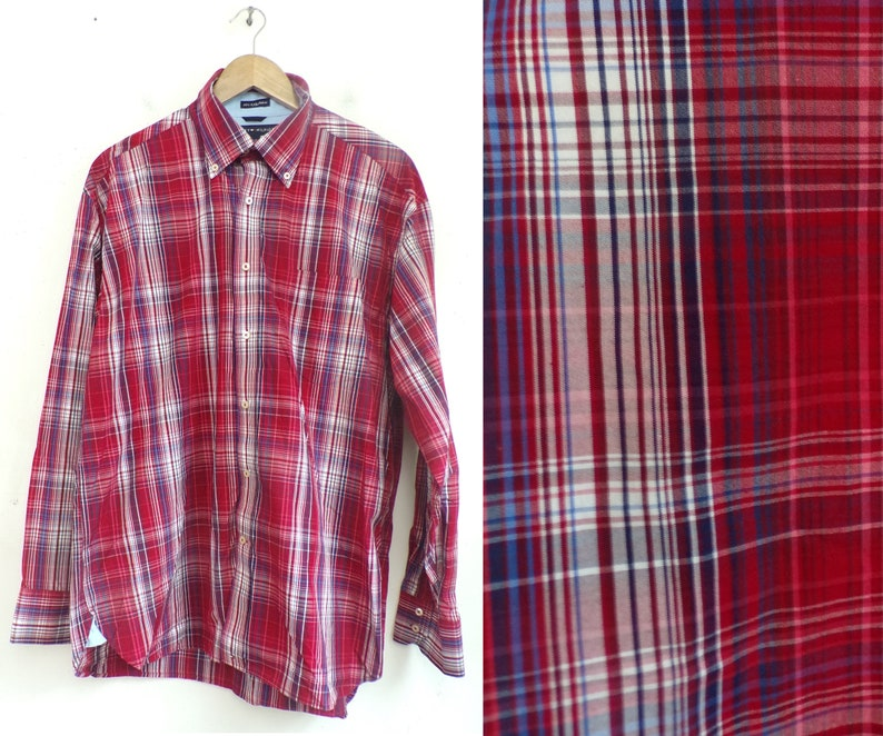 b5407336 90s Tommy Hilfiger Red White & Blue Plaid Button Down Shirt   Etsy