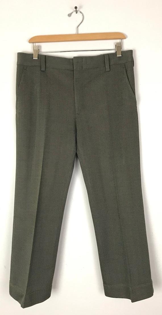 70s Green & Gray Print Cropped Pants Mens Size 34… - image 2