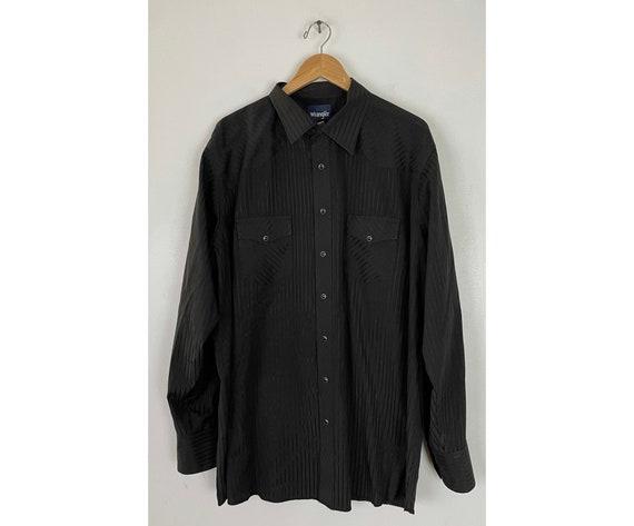 Vintage Wrangler Black Striped Western Shirt Mens