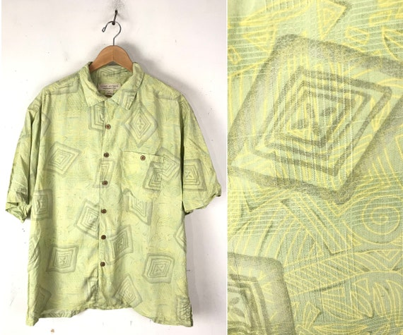 90s Light Green Abstract Print Silk Shirt Mens XL,