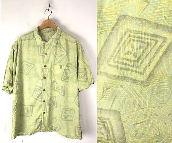 90s Light Green Abstract Print Silk Shirt Mens XL… - image 1