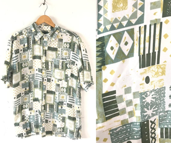 Vintage Abstract Print Silk Shirt, 90s Green & Wh… - image 1
