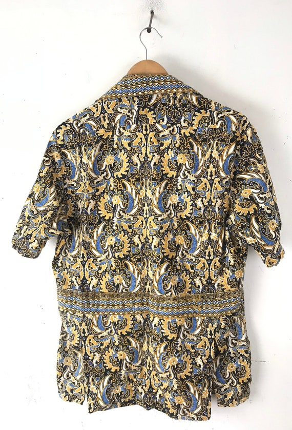 Vintage Gold Black & Blue Abstract Print Shirt Si… - image 6