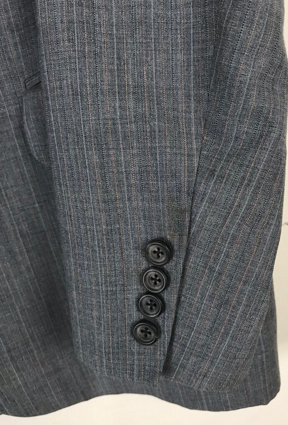 70s Blue Gray Pinstriped Two Piece Suit Mens Size… - image 5