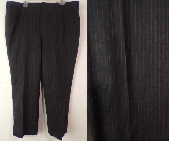 80s Gray Pinstriped Suspender Pants Mens Size 42 W