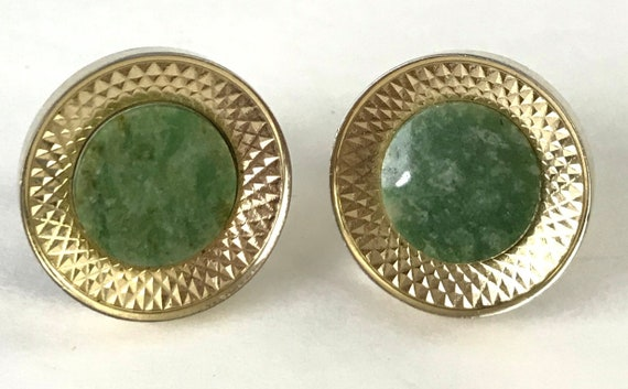 Vintage 1920/'s Art Deco enameled green and white circle cuff links