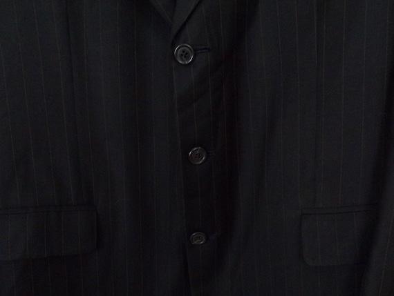 Vintage Black Gold Pinstriped Two Piece Suit Mens… - image 4