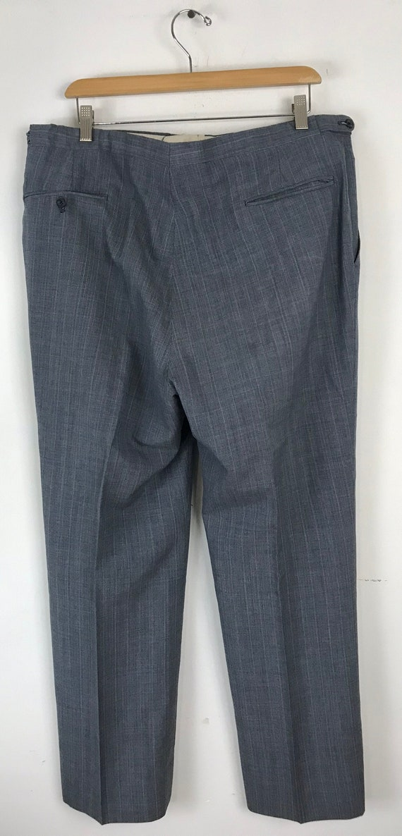 70s Blue Gray Pinstriped Two Piece Suit Mens Size… - image 10