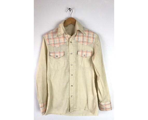 Vintage Beige & Orange Plaid Western Shirt Mens Sm