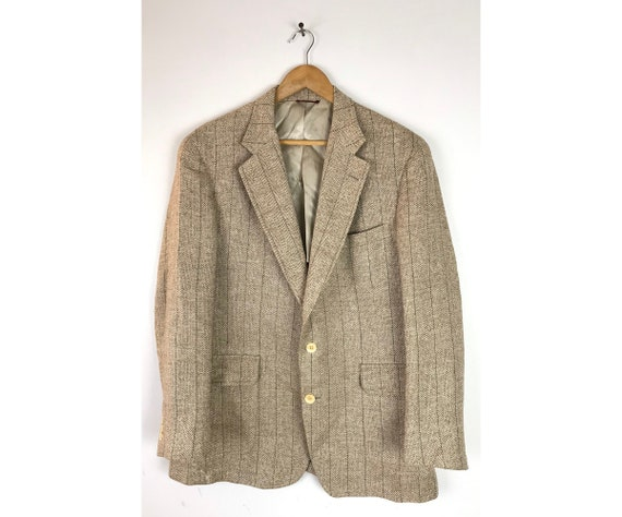Vintage Jos A Bank Beige Tweed Sport Coat Mens Siz