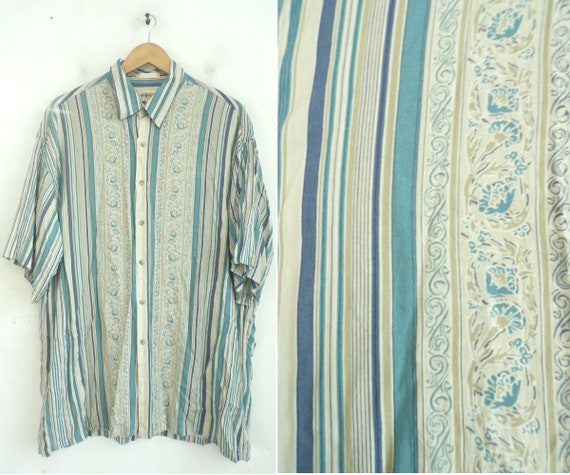 Vintage Blue & Tan Striped Floral Print Shirt Men