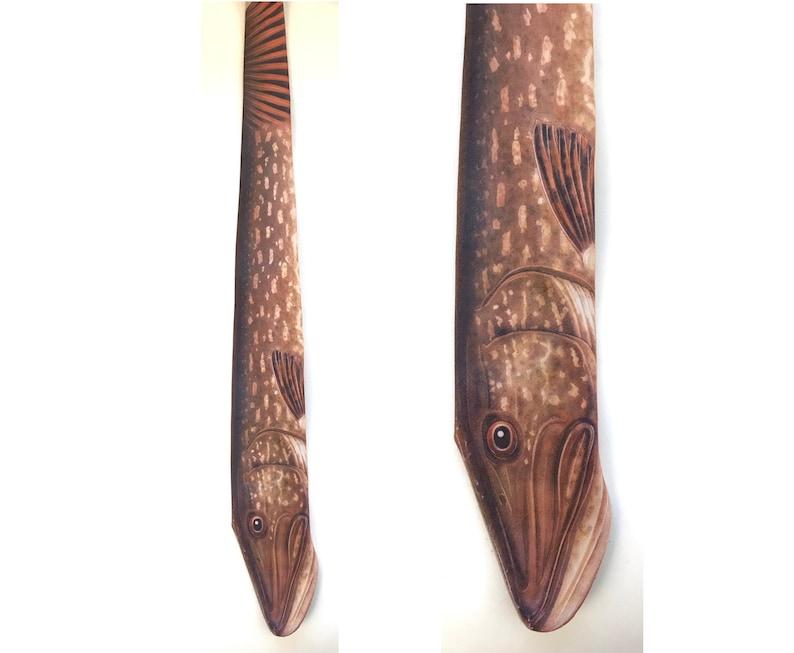 Vintage Ralph Marlin Necktie 1986 Ralph Marlin Northern Pike Tie Fishing Fathers Day Gift Northern Pike Brown Fish Tie