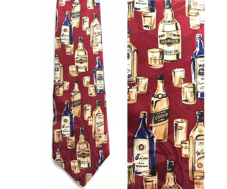 Drinks Glasses Drinks Tie Alcohol Alcohol Tie Booze Tie Print Tie Fathers Day Gift 90s Alcohol Bottles /& Glasses Tie Novelty Necktie