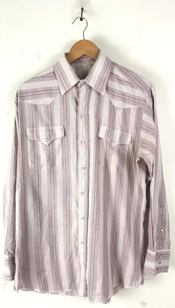 Vintage Purple & White Striped Western Shirt Mens… - image 2