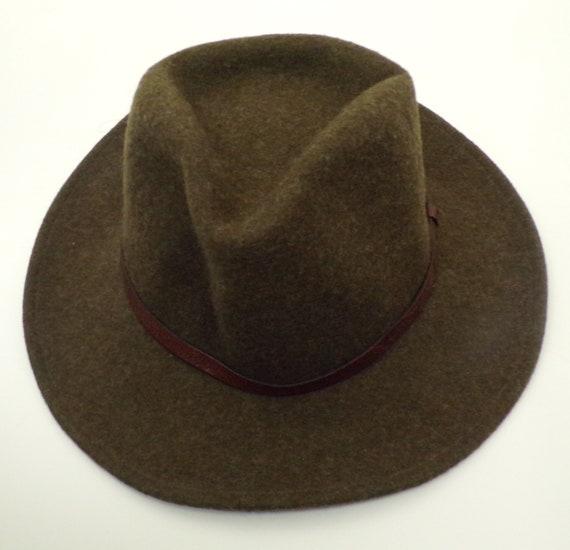 80s Brown Felted Wool Hat Mens Medium, Panama Hat,