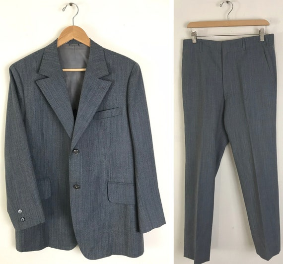 90s Gray Blue Brown Pinstriped Two Piece Suit Mens