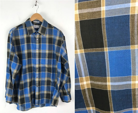 80s Blue Brown Black Plaid Button Down Shirt Mens