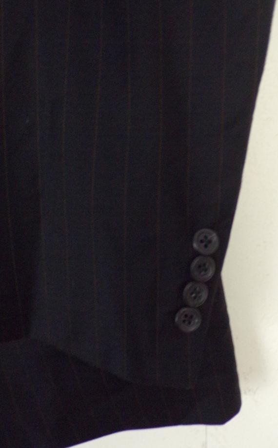 Vintage Black Gold Pinstriped Two Piece Suit Mens… - image 5