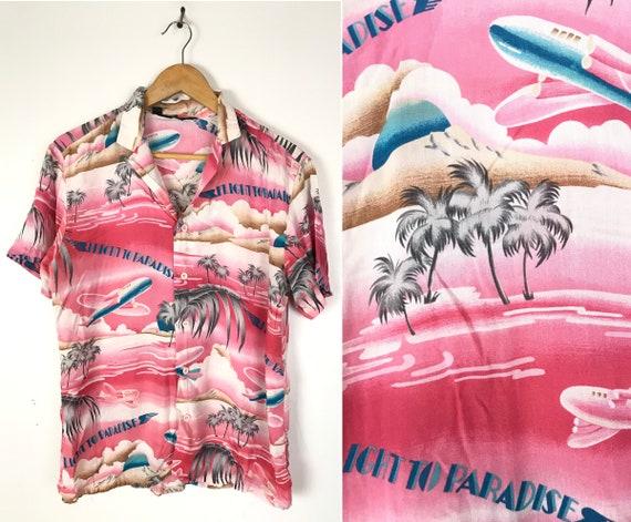 Vintage Hot Pink Flight to Paradise Hawaiian Shirt