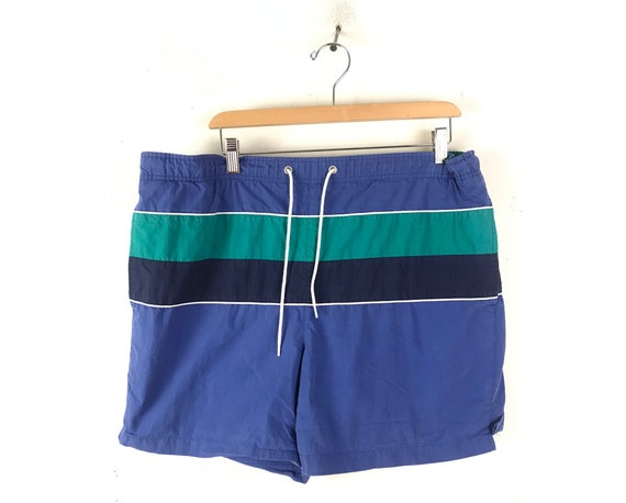 90s Blue & Teal Striped Swim Trunks Mens Large, Pr