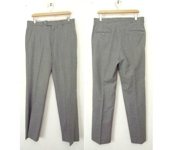 Vintage Gray Brown & Light Blue Plaid Dress Pants