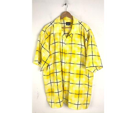Vintage Phat Farm Shirt, 1990s Yellow & Black Plai