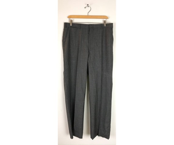 Vintage Dark Gray Pinstriped Dress Pants Mens Size