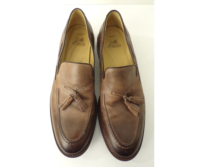 1f62cceb11da0 Vintage Leather Loafers, 90s J&M Mens Size 10.5M Brown Leather Loafers,  Brown Mens Shoes, Tassel Front, Slip On Loafers,Mens Loafers,90s