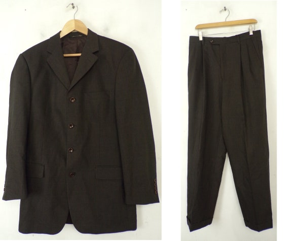 Vintage Brown Black Two Piece Suit Mens Size 40L &