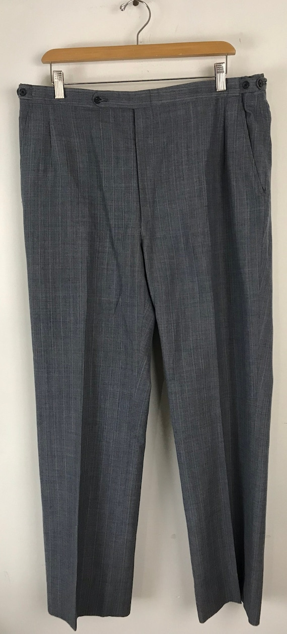 70s Blue Gray Pinstriped Two Piece Suit Mens Size… - image 8